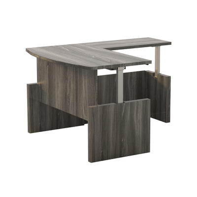 Bow Front L-shaped Desk with Adjustable Height in Gray