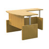 Bow Front L-shaped Desk with Adjustable Height in Maple
