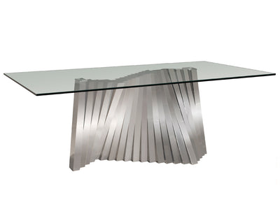 "Ultra Modern 84"" Glass Desk or Conference Table with Funky Stainless Steel Base"