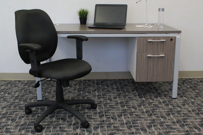 Black Mid-Back Office Chair w/ Waterfall Seat