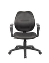 Black Mid-Back Office Chair w/ Loop Arms & Waterfall Seat
