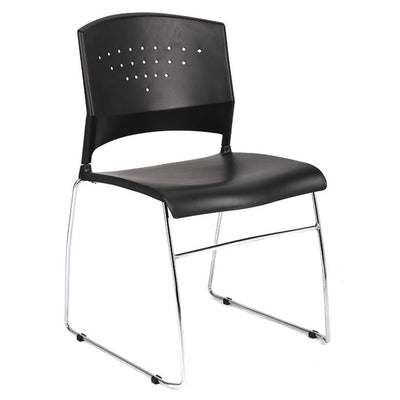 Classic Stackable Black & Chrome Guest or Conference Chairs (Set of 2)