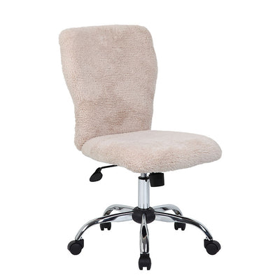 Cream Fur & Silver Office Chair