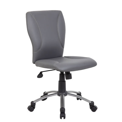 Classic Armless Grey Faux Leather Office Chair