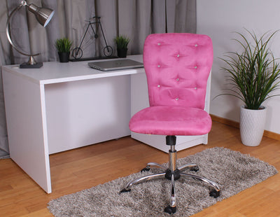 Pink Microfiber Office Chair with Crystal Button Tufting