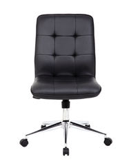 Black Faux Leather Armless Chair on Casters from Boss
