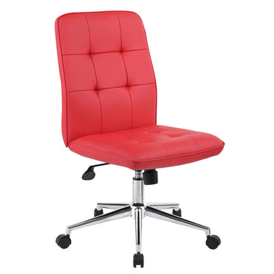 Red Faux Leather Armless Chair on Casters from Boss