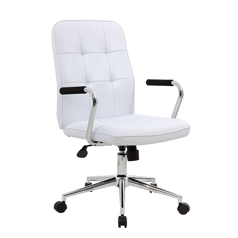 White Faux Leather Button Tufted Chair