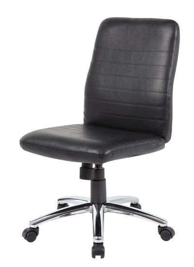 Black Faux Leather Armless Chair w/ Horizontal Panels