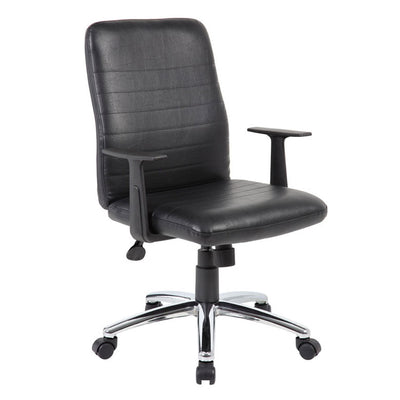 Black Faux Leather Office Chair w/ Horizontal Panels