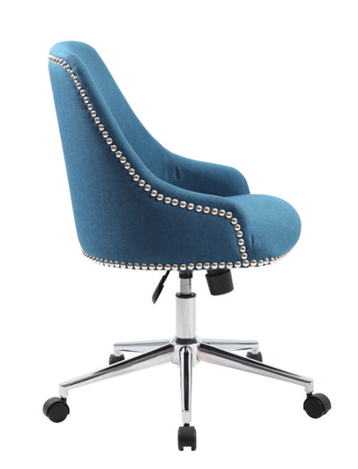 Blue Linen Guest/Office Chair w/ Silver Nail-Head Trim
