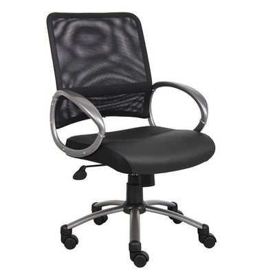Black Mesh Back Rolling Office Chair w/ Pewter Arms