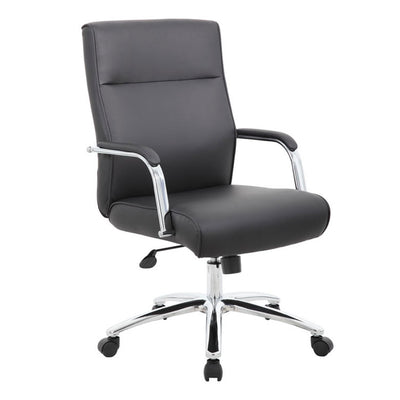 Rectangular Black Faux Leather & Chrome Ergonomic Office Chair
