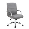 Ribbed Rectangular Grey Faux Leather & Chrome Ergonomic Office Chair