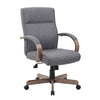 Vintage Slate Grey Linen & Driftwood Office Chair