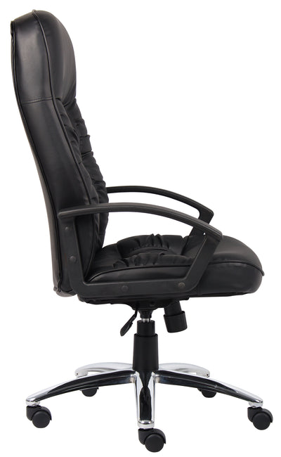 Black Faux Leather Office Chair w/ Chrome Base