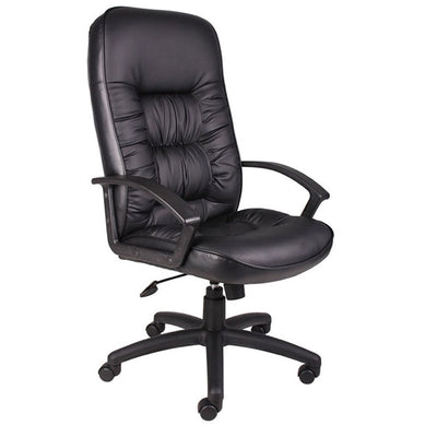 Black Faux Leather Office Chair w/ Black Base