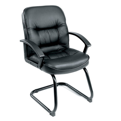 S-Design Black Faux Leather Mid Back Guest Chair