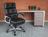 Black Faux Leather Button Tufted Executive Office Chair