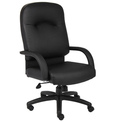 Smooth Black Faux Leather High Back Executive Office Chair