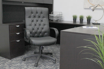 Striking Button Tufted Black Faux Leather Office Chair
