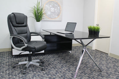 Foldable Black Leather Office Chair w/ Waterfall Seat