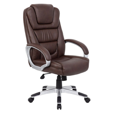 Foldable Brown Leather Office Chair w/ Waterfall Seat