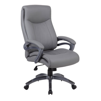 Superior Grey Leather & Nylon Office Chair