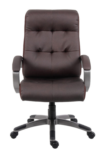 S-Design Brown Faux Leather Mid Back Guest Chair