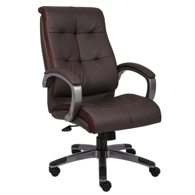 Brown Leather Office Chair w/ Button Design
