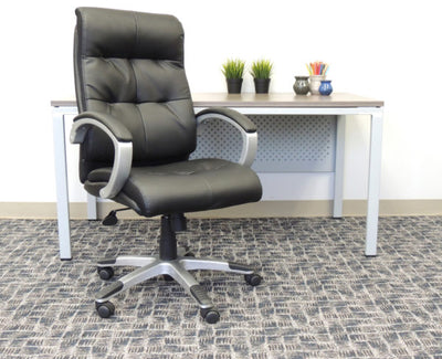 Black Leather Office Chair w/ Button Design