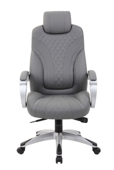 Grey Diamond-Patterned Faux Leather Office Chair
