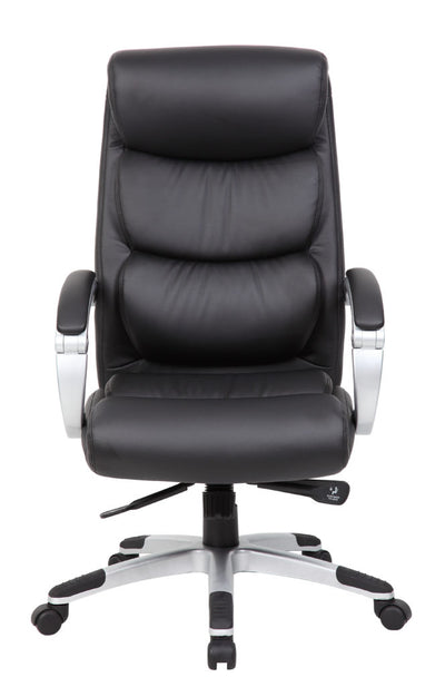 Elegant Black Faux Leather & Nylon Office Chair