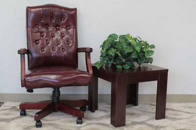 Elegant Deep Red & Mahogany Button-Tufted Office Chair
