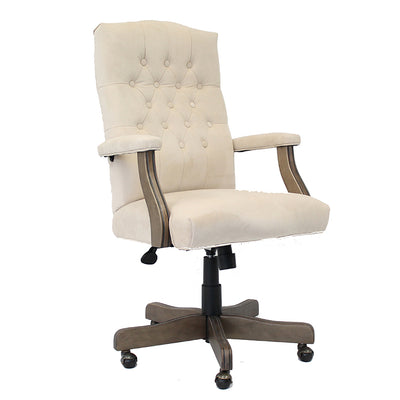 Elegant Cream & Driftwood Button-Tufted Office Chair