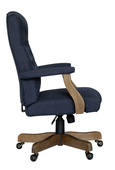 Elegant Blue Denim & Driftwood Button-Tufted Office Chair