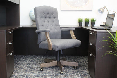 Elegant Slate Grey Linen & Driftwood Button-Tufted Office Chair