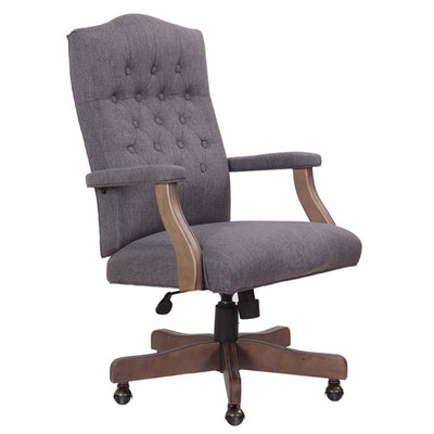 Elegant Slate Grey Linen U0026 Driftwood Button Tufted Office Chair