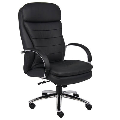Gorgeous Black Faux Leather & Chrome Office Chair