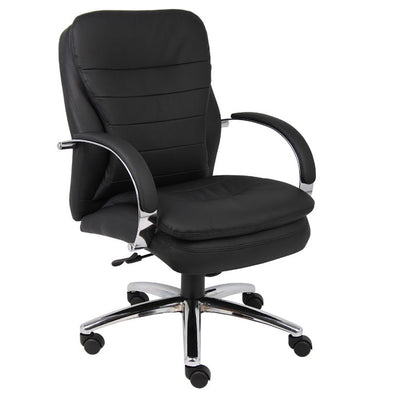 Gorgeous Black Faux Leather & Chrome Mid-Back Office Chair