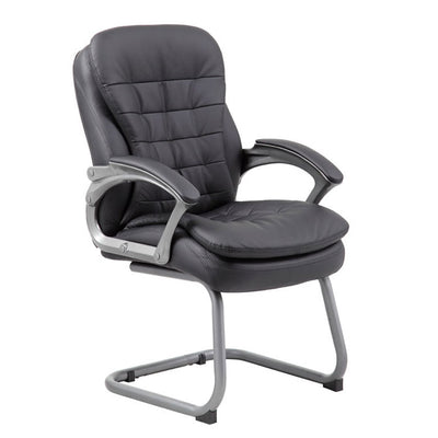Black Faux Leather & Pewter Guest or Conference Chair w/ Pillowtop Cushions