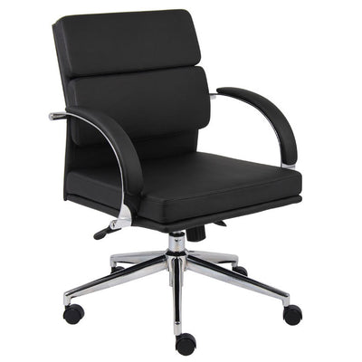 Mid-Back Flat-Back Stylish Black Faux Leather Office Chair