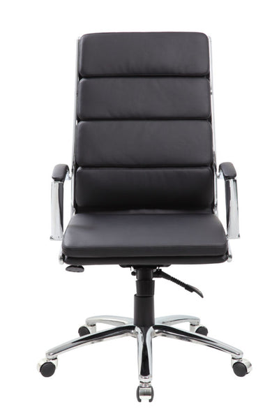 Black Faux Leather Office Chair w/ Padded Back & Seat