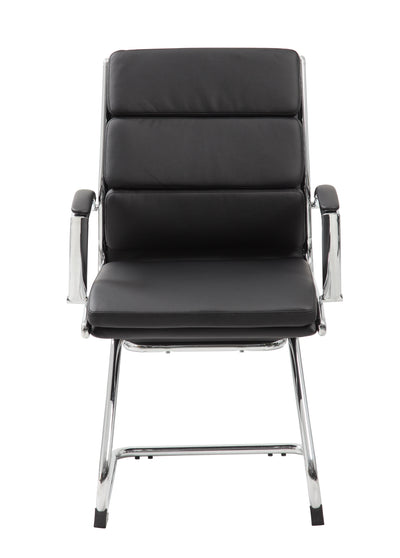 Black Faux Leather & Chrome S-Design Guest Chair