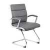 Grey Faux Leather & Chrome S-Design Guest Chair