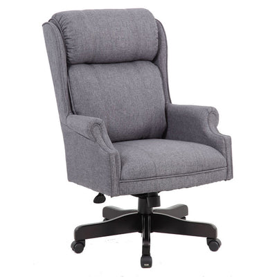 Slate Grey Linen Executive Office Chair