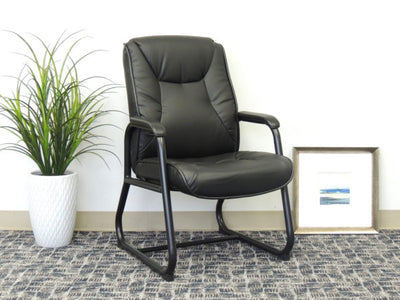 Black Faux Leather Mid Back Guest Chair