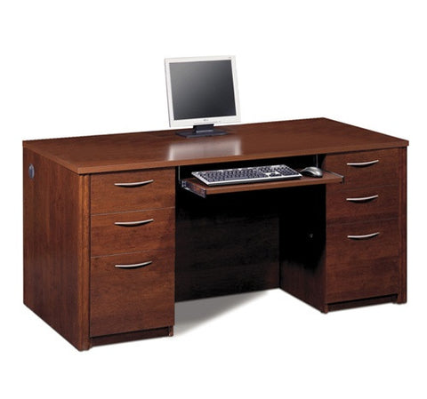 "66"" Double Pedestal Executive Desk in Tuscany Brown or Cappuccino Cherry"
