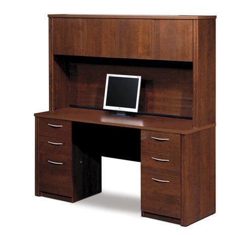 Embassy Collection Double Pedestal Desk U0026 Hutch In Tuscany Brown