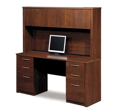 "66"" Tuscany Brown Desk & Hutch, with Pre-Assembled Pedestals"